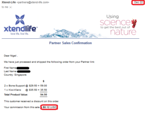 20161222 online business income and payment received proof xtend life
