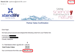 20161223 online business income and payment received proof xtend life
