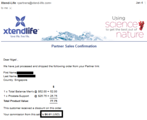 20170104 online business income and payment received proof xtend life