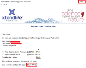 20170207 online business income and payment received proof xtend life