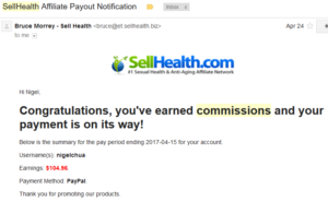 20170424 SellHealth Affiliate Commission Payout