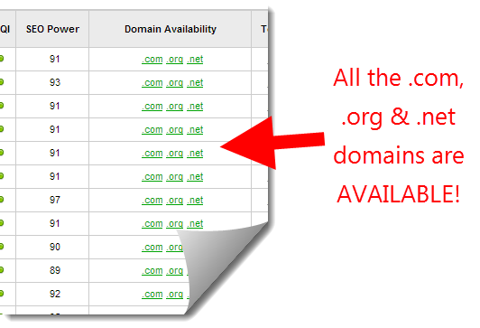 jaaxy shows the types of domains available