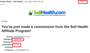 online business income and payment received proof sellhealth 2015 march