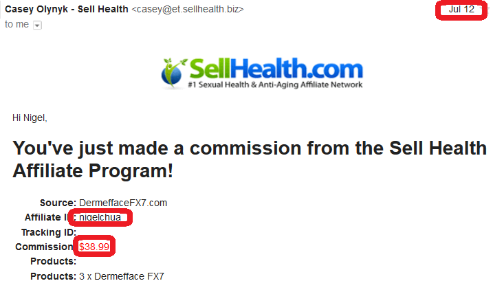 online business income and payment received proof sellhealth 2016 july