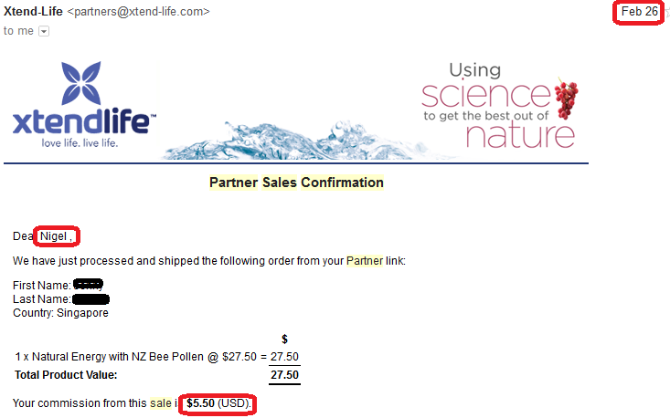 online business income and payment received proof xtend life 2016 february 26