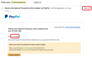 online business income and payment received proof xtend life 2016 march