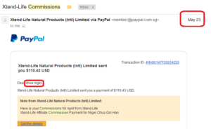 online business income and payment received proof xtend life 2016 may