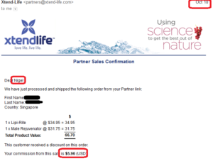 online business income and payment received proof xtend life 2016 october 10
