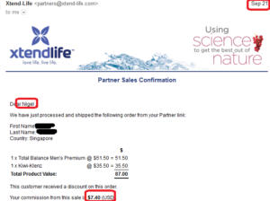 online business income and payment received proof xtend life 2016 september 21