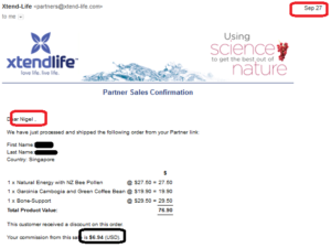 online business income and payment received proof xtend life 2016 september 27