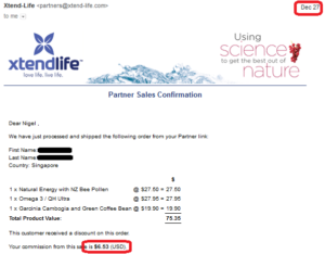 online business income and payment received proof xtend life
