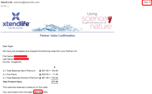 payment received proof xtend life