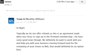 stopping wealthy affiliate no refund