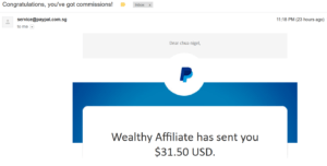 wealthy affiliate commisions