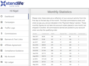 xtend life affiliate commissions